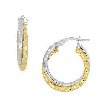 Double Hoop Two Tone Earrings