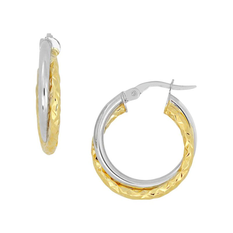 B&C Collections Double Hoop Two Tone Earrings