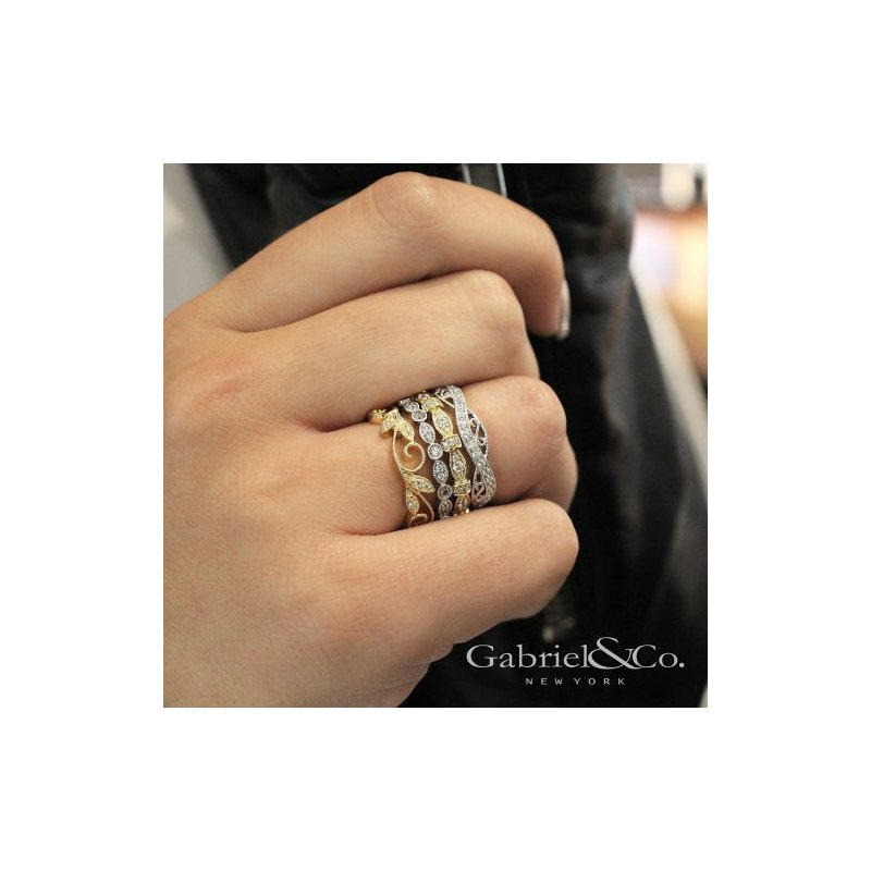 Gabriel & Co. -  IN-STORE COLLECTION Diamond Filigree Stackable Ring