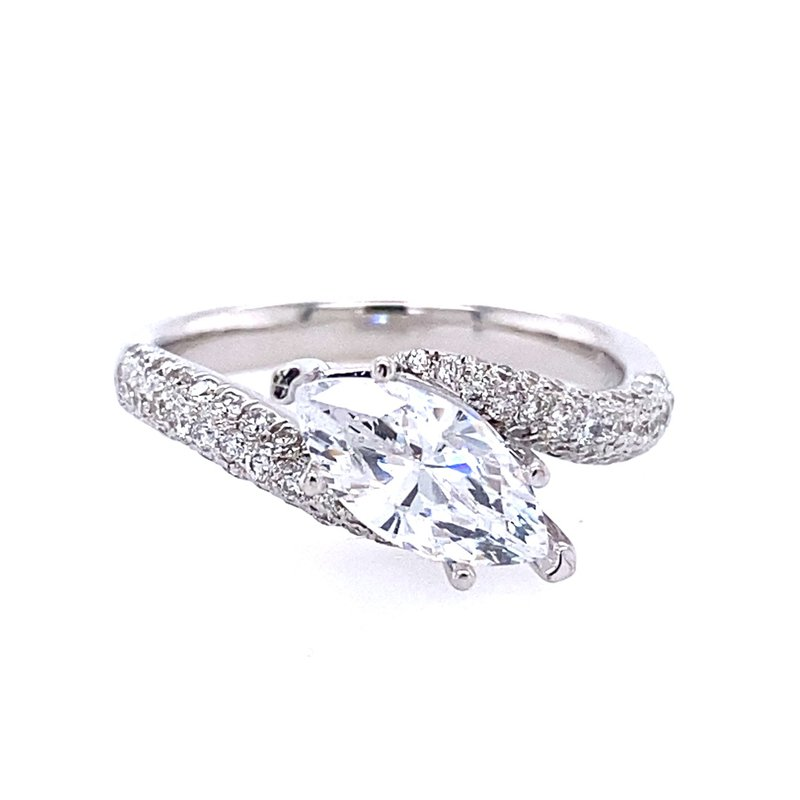 B&C Collections White Gold Pave' Diamond Marquise Engagement Ring