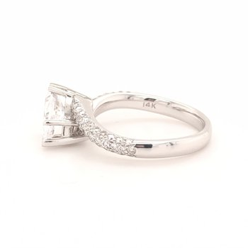 White Gold Pave' Diamond Marquise Engagement Ring