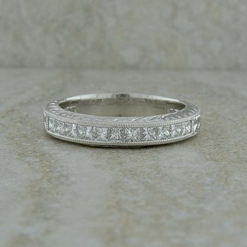 Platinum Diamond Engraved Band