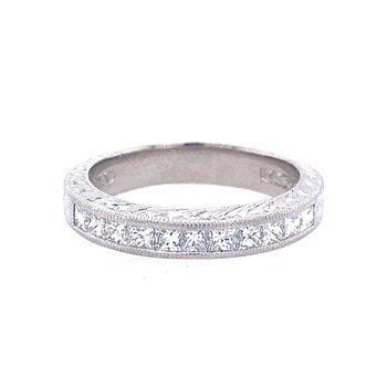 Platinum Diamond Engraved Band