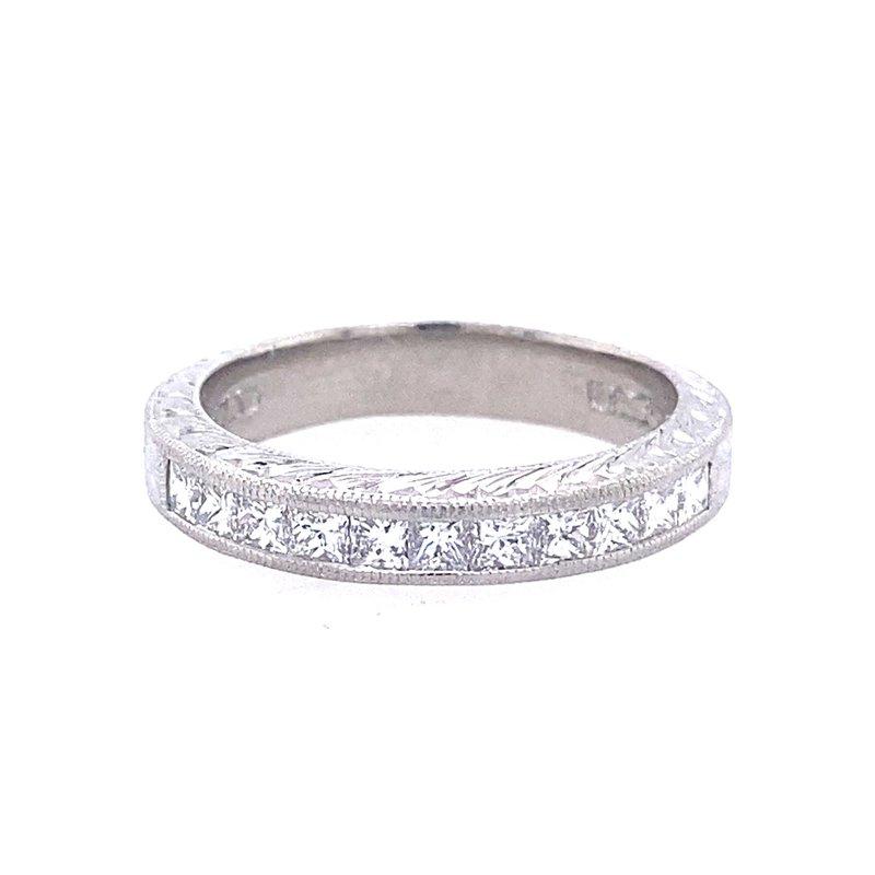 B&C Collections Platinum Diamond Engraved Band