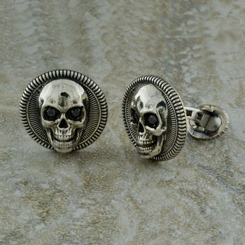 Skull Cufflinks with Black Diamonds