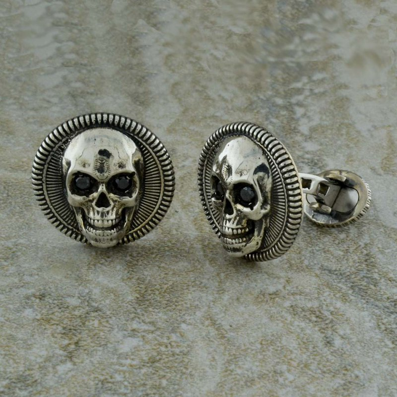 William Henry Skull Cufflinks with Black Diamonds