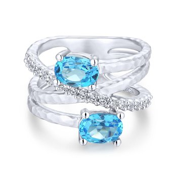 Blue Topaz and White Sapphire Bypass Ring