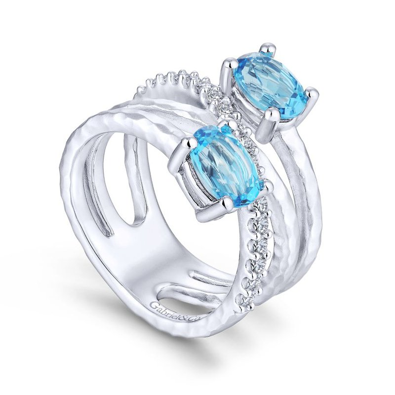 Gabriel & Co. -  IN-STORE COLLECTION Blue Topaz and White Sapphire Bypass Ring