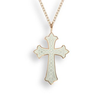 White Enamel Cross Pendant