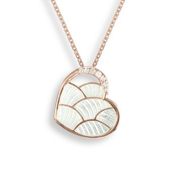 White Enamel Heart Necklace