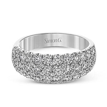 White Gold Wide Diamond Pave' Band