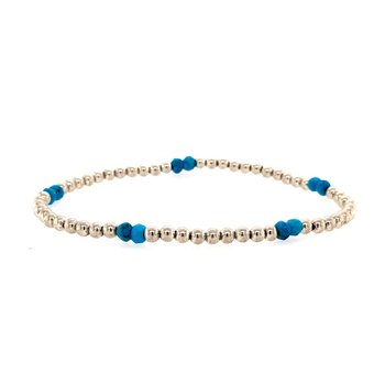 Stretch 3mm Turquoise and Sterling Silver Bead Bracelet