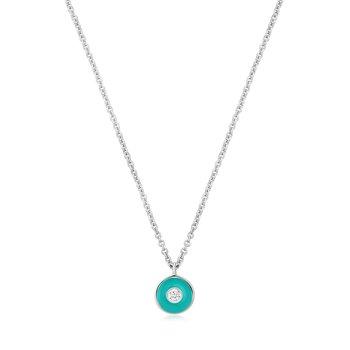 Teal Enamel Disc Necklace
