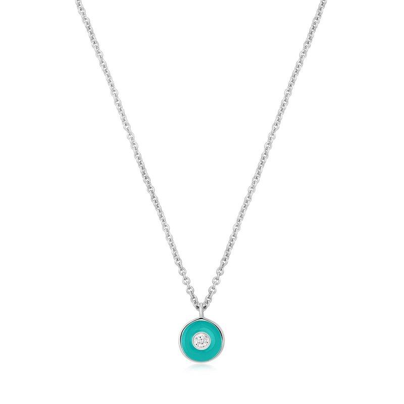 Ania Haie Teal Enamel Disc Necklace