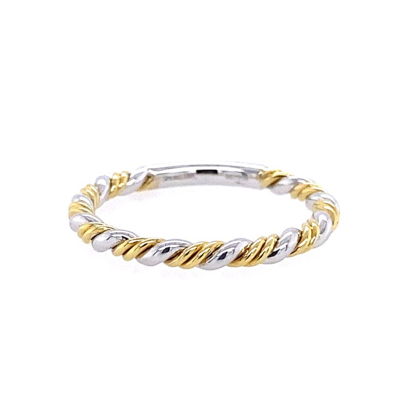 Simon G IN-STORE COLLECTION White and Yellow Gold Twist Style Band
