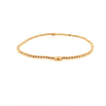 Stretch 2mm Yellow Gold Filled Bracelet with 14K YG Heart
