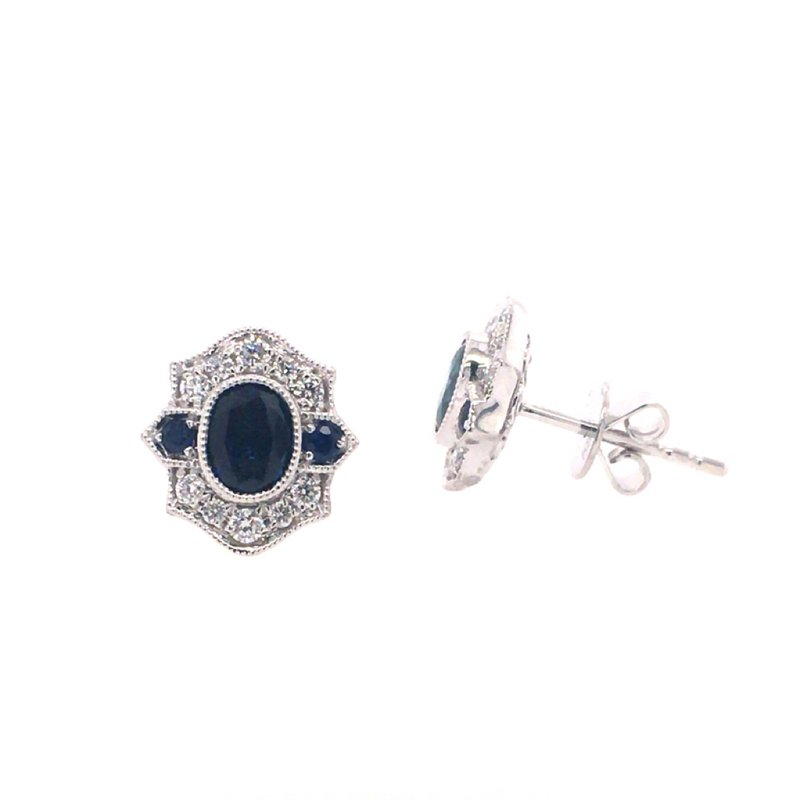 B&C Collections Sapphire and Diamond Shield Earrings