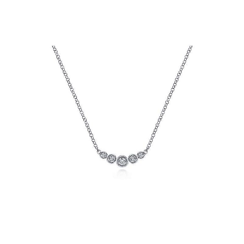 Gabriel & Co. -  IN-STORE COLLECTION Graduating Diamond Bar Necklace