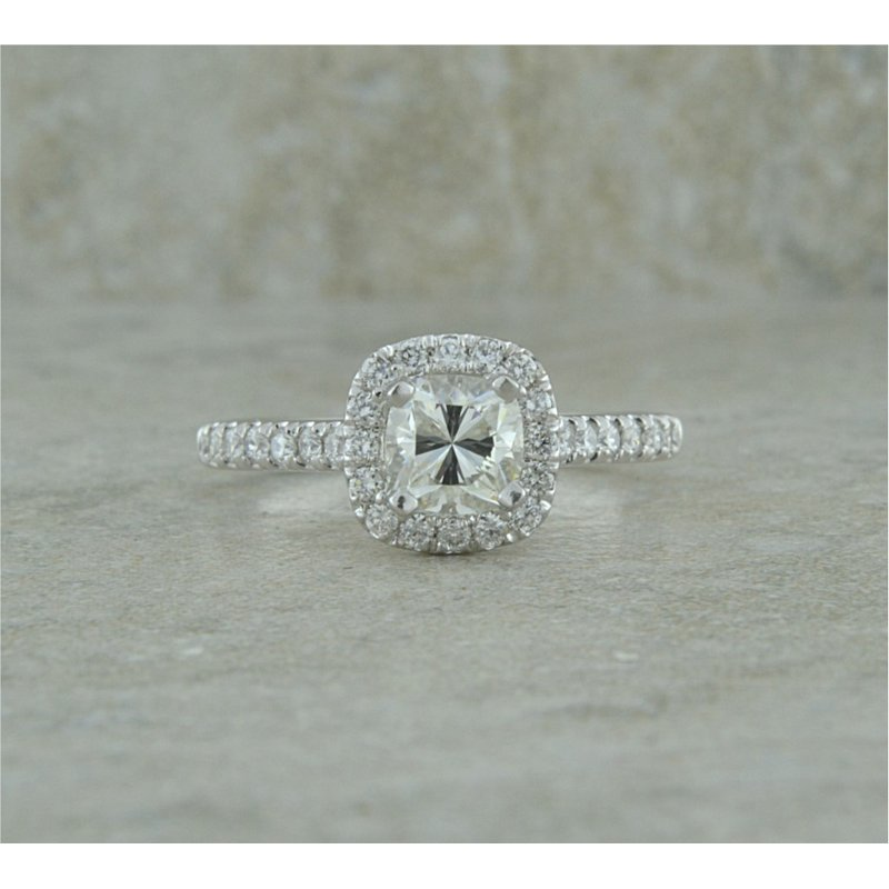 B&C Creations Halo and Side Diamond Engagement Ring