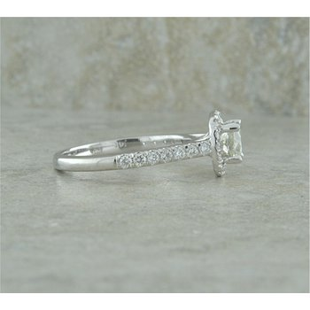Halo and Side Diamond Engagement Ring