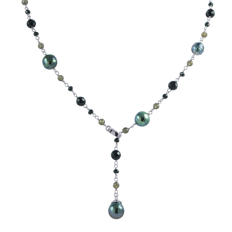 Imperial Pearl Tahitian Pearl, Black Agate, and Smoky Quartz Necklace