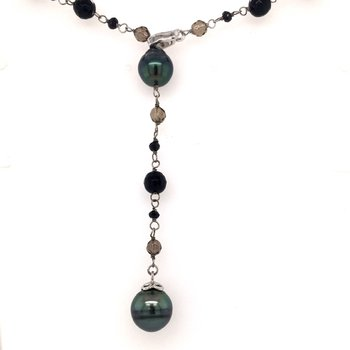 Tahitian Pearl, Black Agate, and Smoky Quartz Necklace
