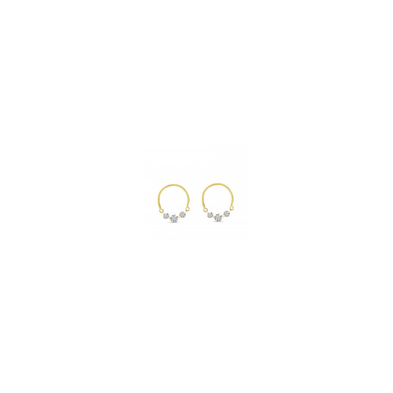 B&C Collections Front Facing Diamond Circle Earrings