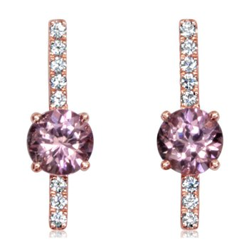 14K RoseLotus Garnet and Diamond Earrings