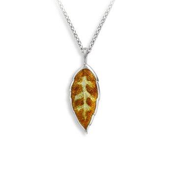 Orange and Yellow Enamel Leaf Necklace