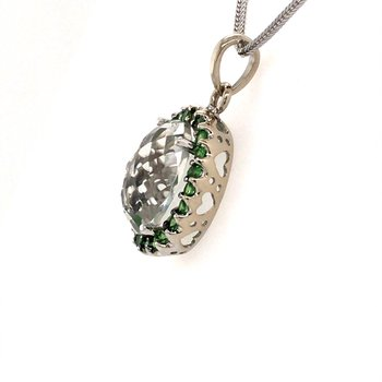Quartz and Emerald Pendant
