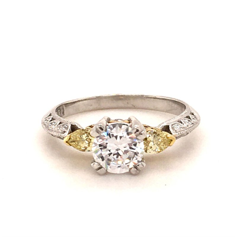 B&C Collections Yellow Diamond Three-stone Engagement Ring