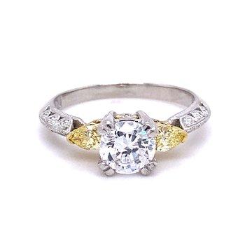 Yellow Diamond Three-stone Engagement Ring