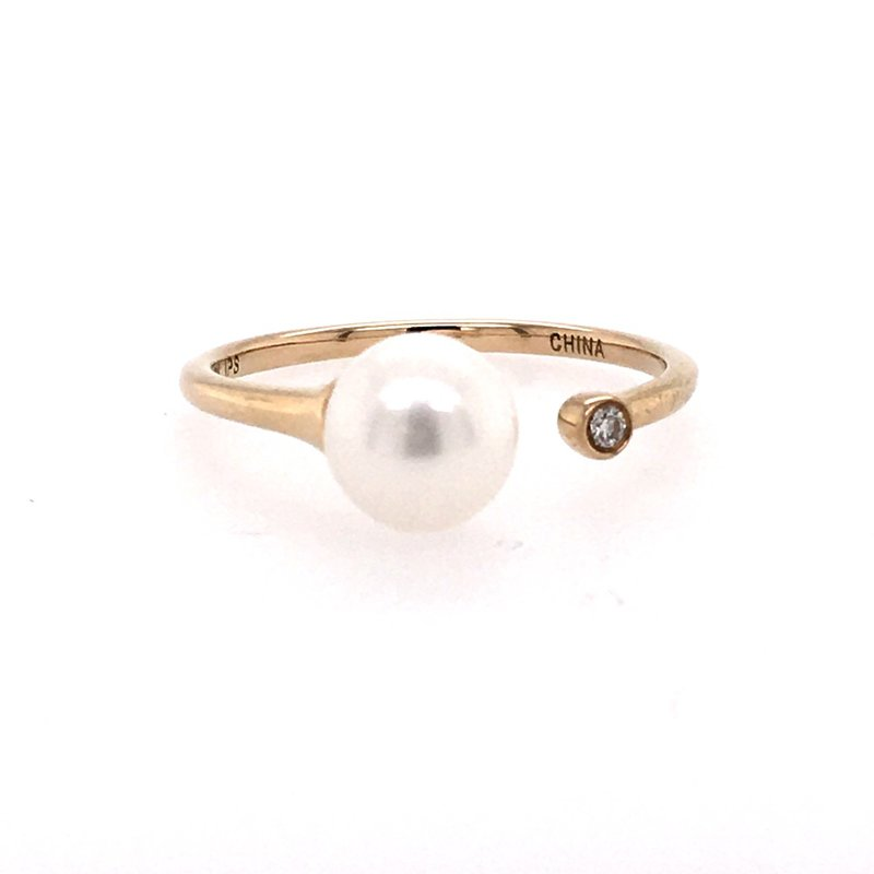 Imperial Pearl Pearl and Diamond Open Ring