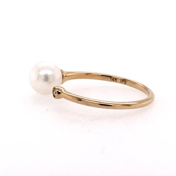 Pearl and Diamond Open Ring