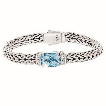 Blue Topaz Woven Bracelet