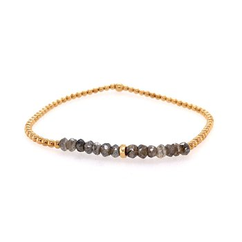 Stretch 2mm Yellow Gold Filled, Laboradorite and 14K Bead Bracelet