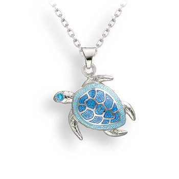 Sterling Silver Persian Blue Enamel Turtle