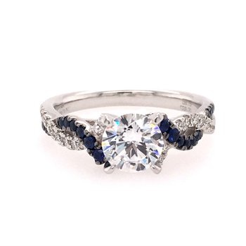 White Gold Diamond and Sapphire Twist Style Engagement Ring