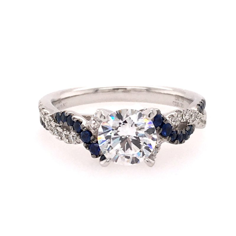 B&C Collections White Gold Diamond and Sapphire Twist Style Engagement Ring