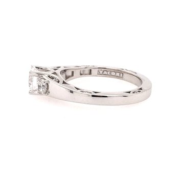 3 Stone Style White Gold Engagement Ring