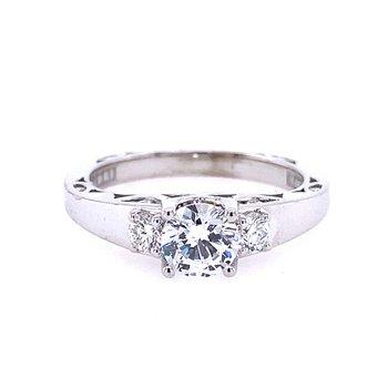 3 Stone Style White Gold Engagement Ring