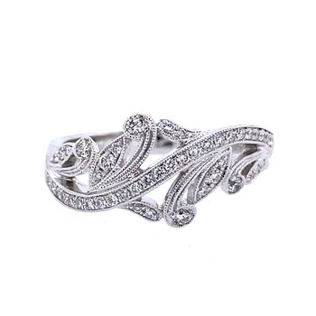 White Gold Vintage Inspired Diamond Fashion Ring