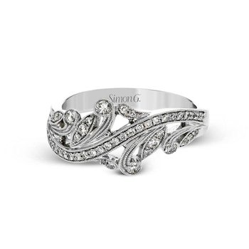 White Gold Vintage Inspired Diamond Fashion Ring