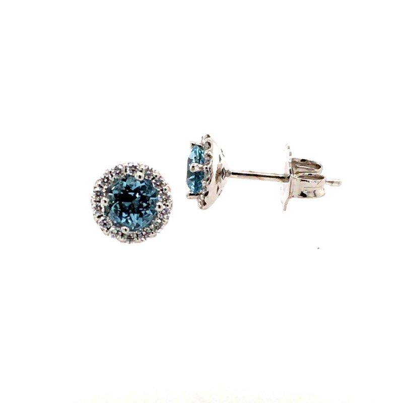 B&C Creations Aquamarine and Diamond Halo Earrings