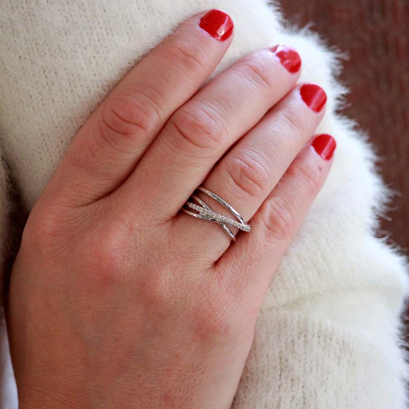 Gabriel & Co. -  IN-STORE COLLECTION White Sapphire Crossover RIng