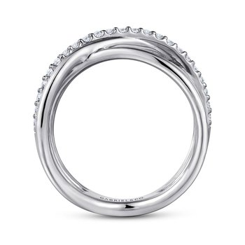 White Sapphire Crossover RIng