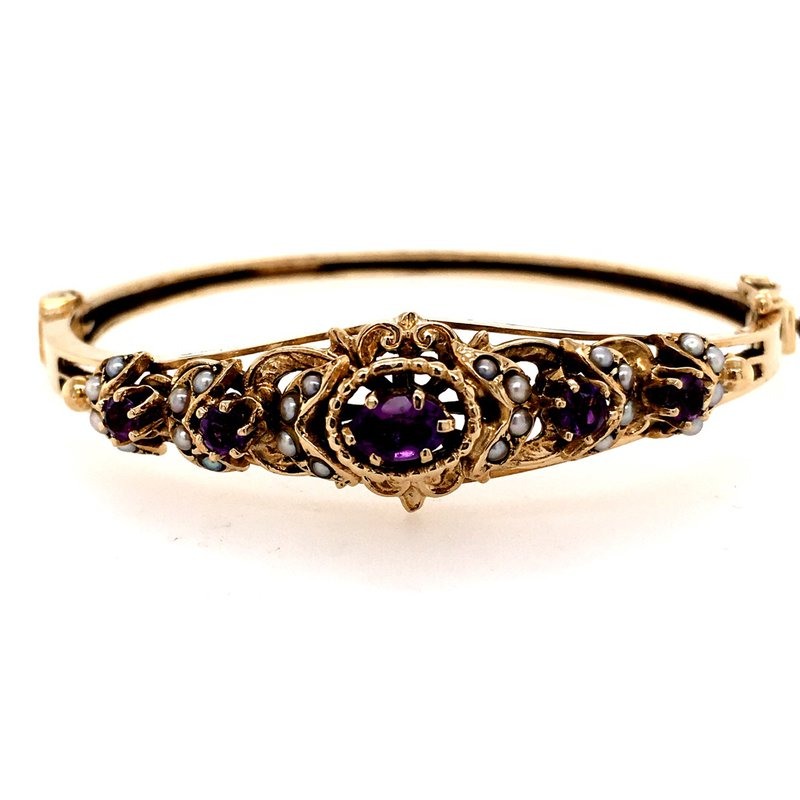 B&C Estate Collection Victorian Amethyst and Seed Pearl Bangle