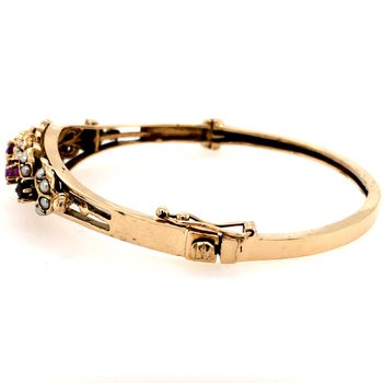 Victorian Amethyst and Seed Pearl Bangle