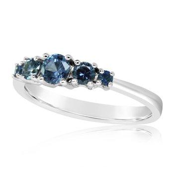 14K White  Montana Sapphire Five Stone Ring