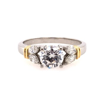 Platinum and 18k Yellow Gold Engagement Ring